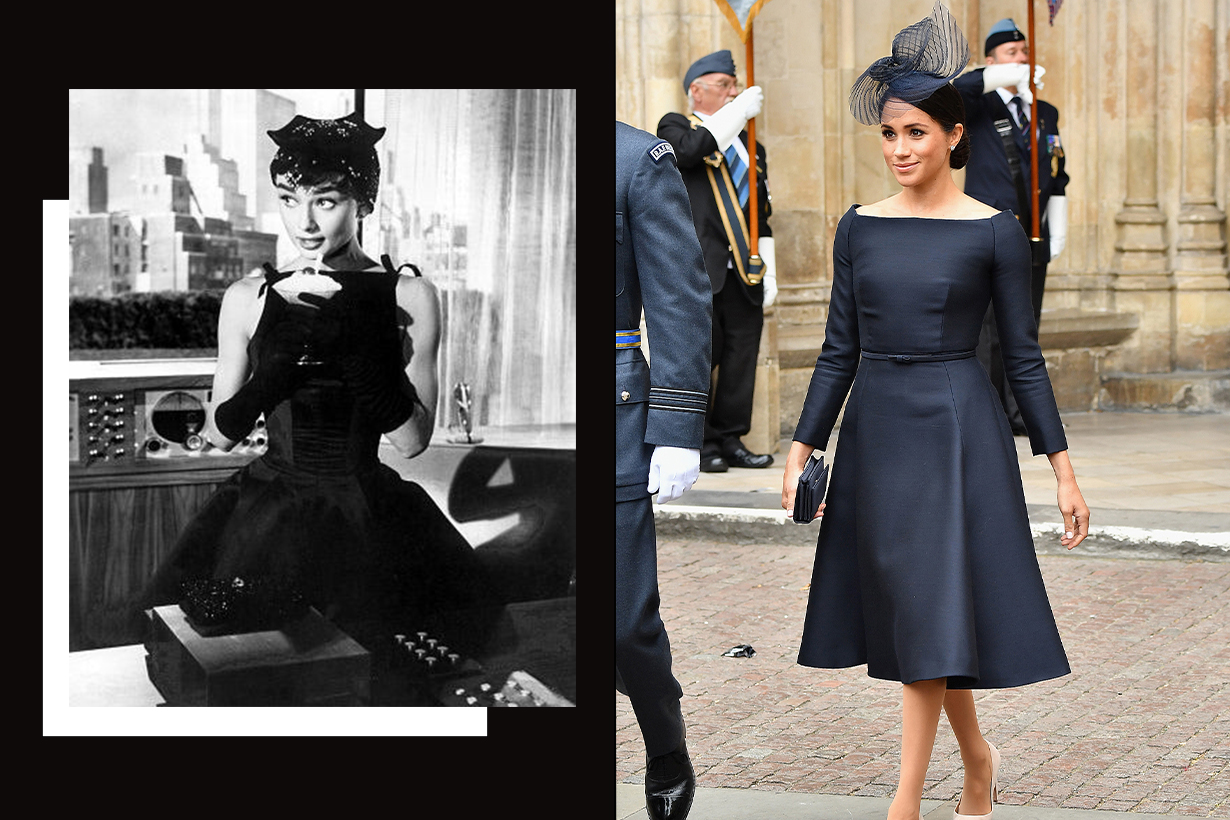 Meghan Markle Bateau Neckline Outfits From Audrey Hepburn Style