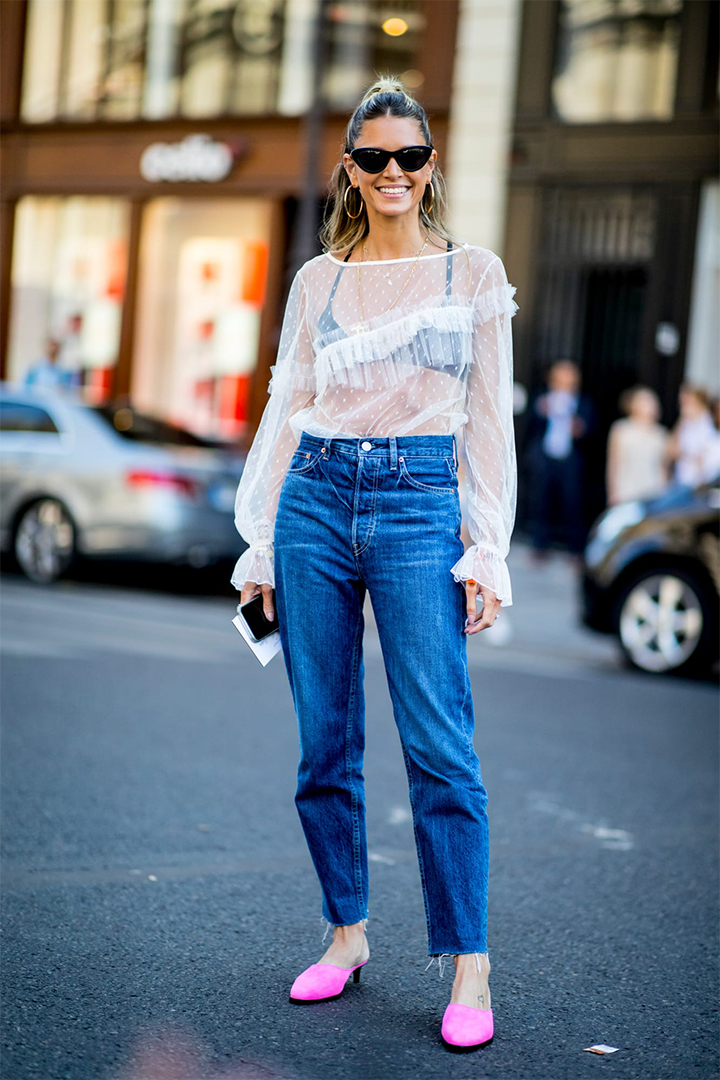 Wear denim with fancy tops at  Paris Couture Week
