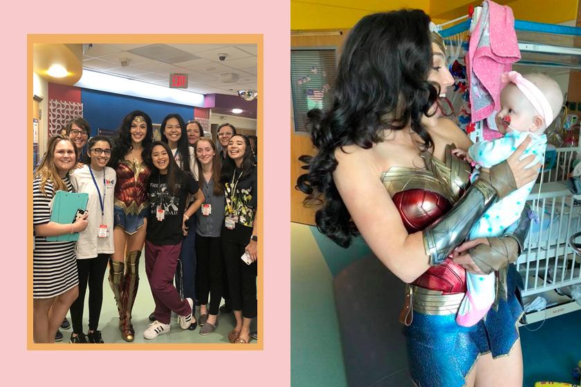 gal gadot wonder woman visit children hospital dress costume