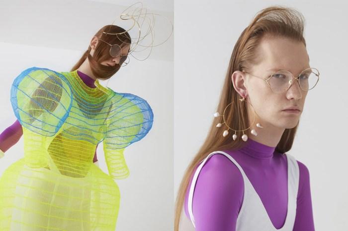 台灣知名造型設計師 Lin Xiu Wei 以 Gucci 眼鏡為靈感,設計金屬線條頭飾