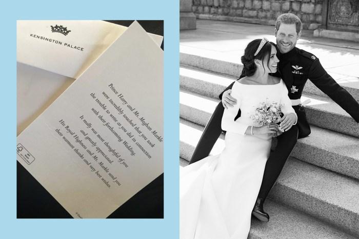 簡潔的婚禮感謝卡,傳遞了哈里王子夫婦的誠摯祝福!