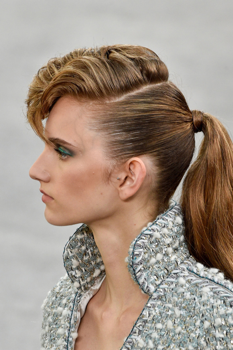 Chanel Paris Fashion Week Haute Couture Fall 2018 Couture Slicked Back Ponytail French Girls Style Punk style Hairstyles