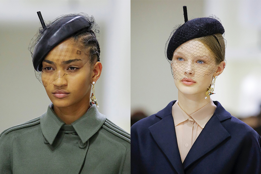 christian-dior beret fall-2018-couture runway details