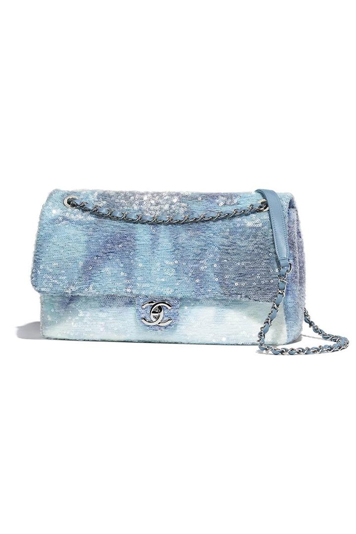Gigi Hadid Chanel Handbags Mermaid Bag Flap Bag in Sequins Celebrities Style