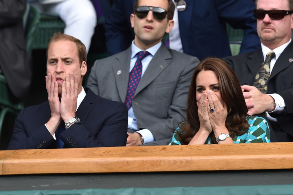 Kate Middleton Wimbledon Tennis Match Funny Facial Expression Prince William Andy Murray Maternity Leave British Royal Family