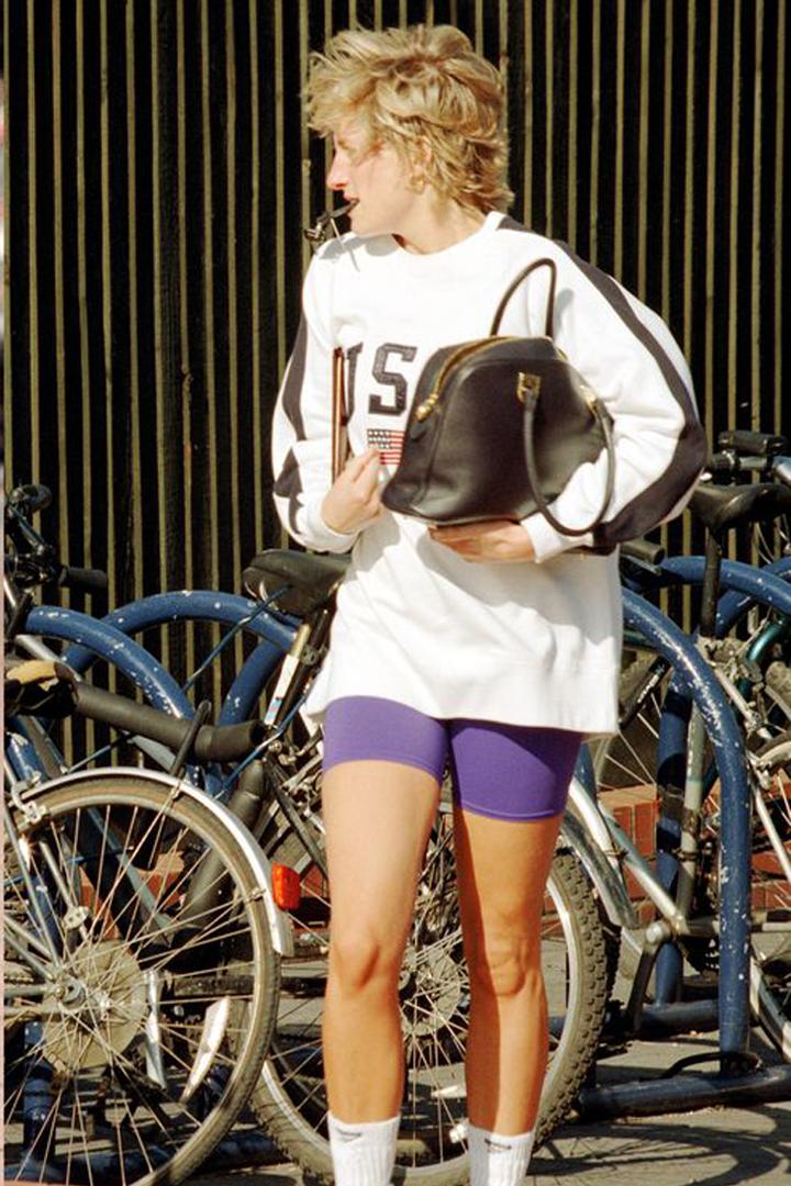 Princess Diana Bike Shorts trend Kim Kardashian Bella Hadid Dion Lee Nina Ricci Off White Fashion Item