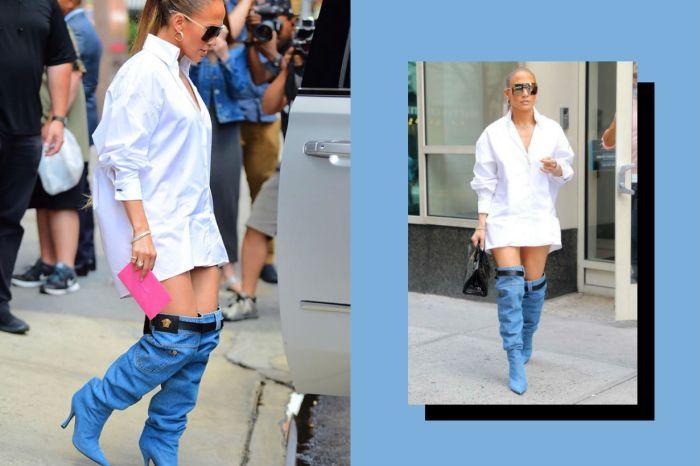 Jennifer Lopez 這褲子脫一半的前衛造型,會帶起最新潮流嗎?