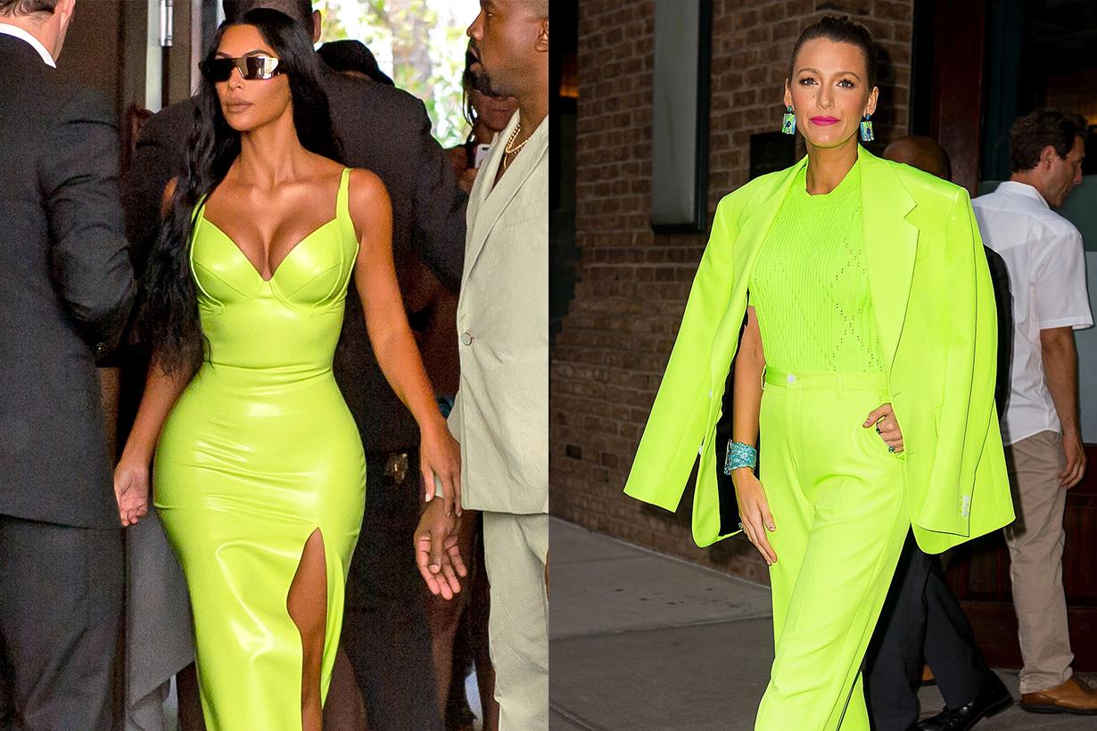 Kim Kardashian in neon color outfits