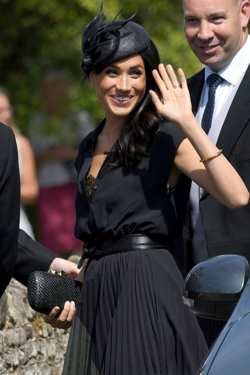 Prince Harry Meghan Markle Birthday Charlie van Straubenzee wedding Club Monaco navy dress wardrobe malfunction shoes with hole british royal family