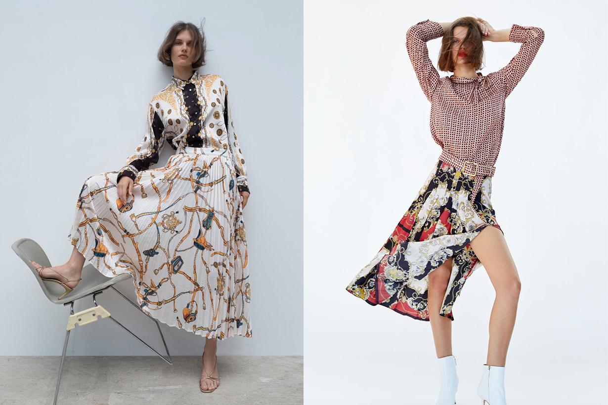 Zara printed silk dress