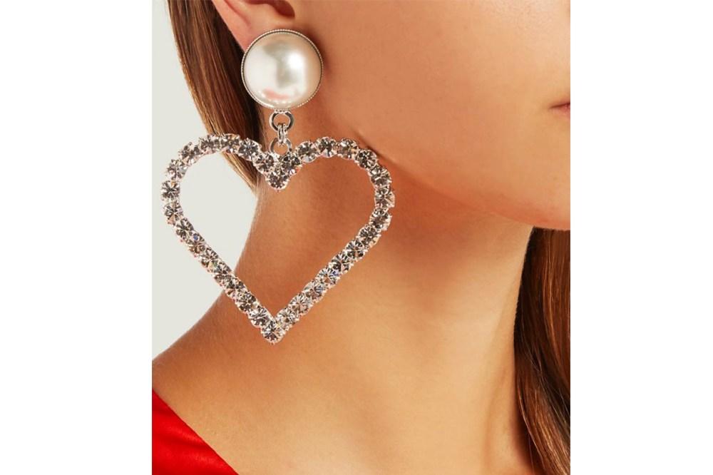Alessandra Rich Crystal Heart Charm Earrings