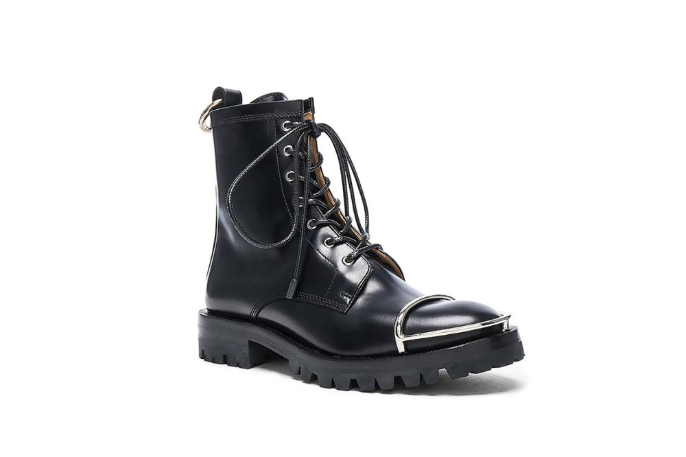 Alexander Wang Lyndon Box Leather Combat Boots