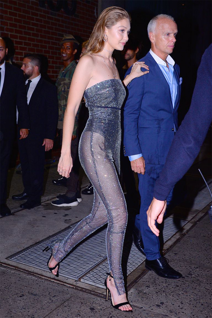 Gigi Hadid Sheer Crystal Jumpsuit