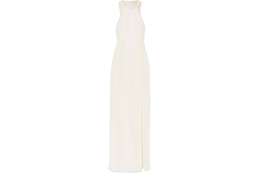 Galvan London Palm Beach Ribbed Jersey Halterneck Gown