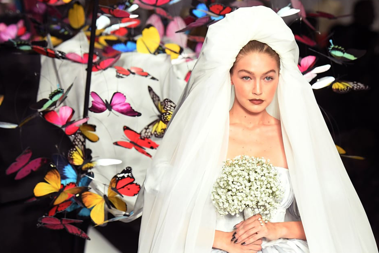 Gigi Hadid Was a Bride in a Giant Bubble Dress at the Moschino Runway Show