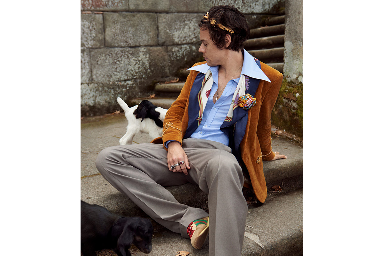 harry styles gucci cruise 2019 mens tailoring campaign