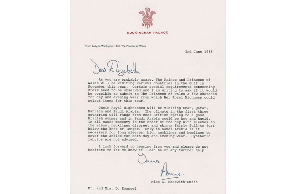 Royal Palace Letter Princess Diana