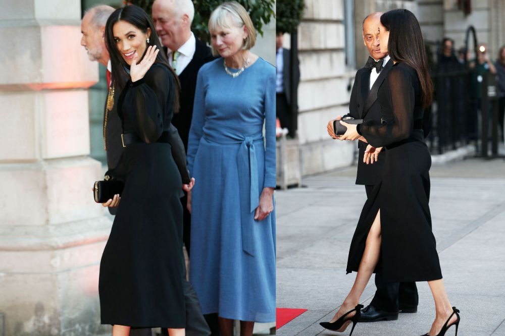 meghan-markle-nipples-black-dress-solo-royal-outing-photos/