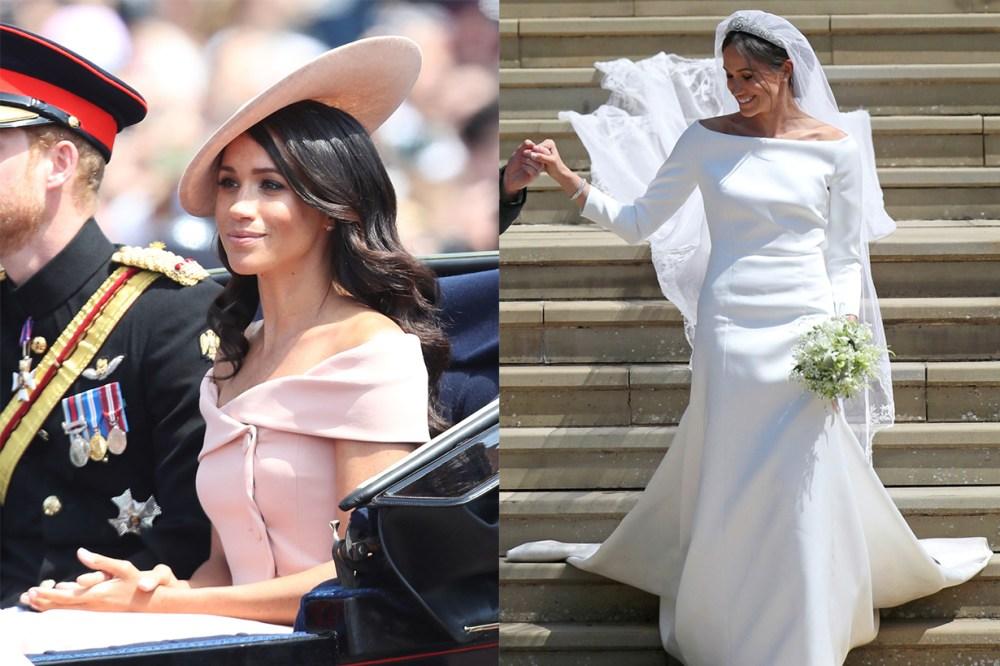 Meghan Markle bateau-neck Givenchy wedding dress Carolina Herrera