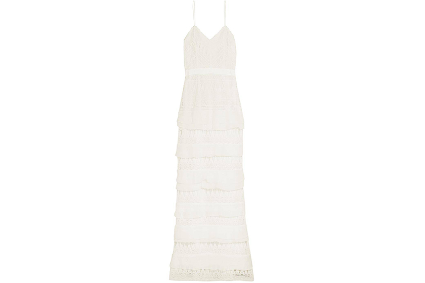 Self-Portrait Penelope Tiered Crepon-trimmed Guipure Lace Gown