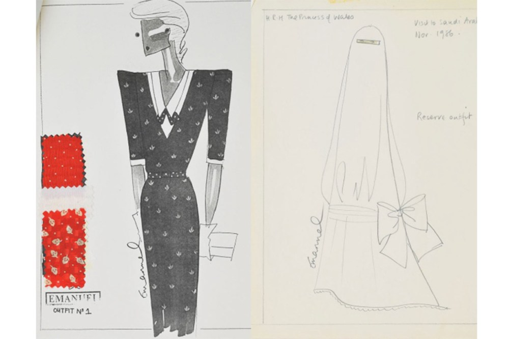 Emanuels Design Sketch for Princess Diana