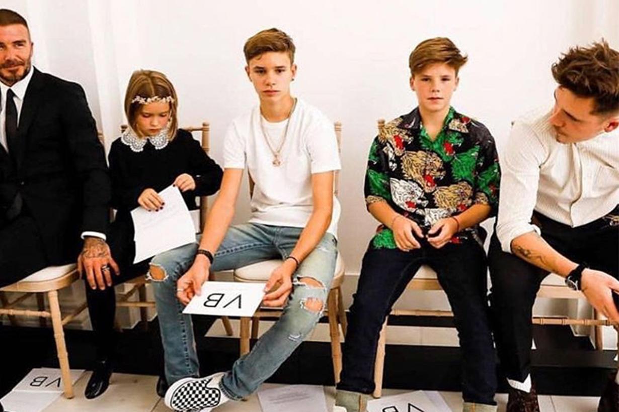Harper Beckham attend Victoria Beckham fashion show