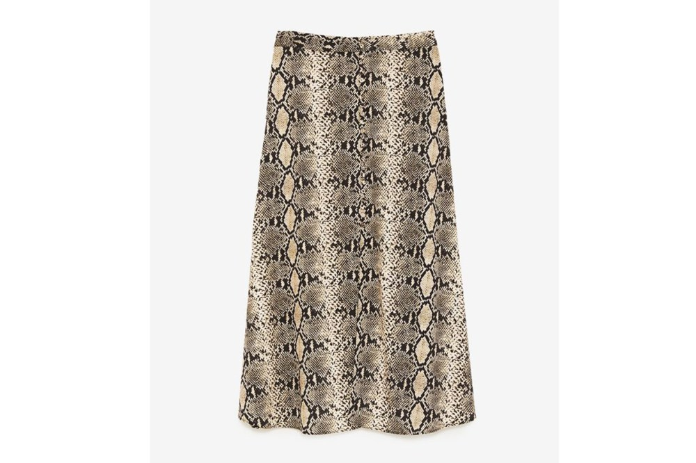 Zara Snakeskin-Print Skirt
