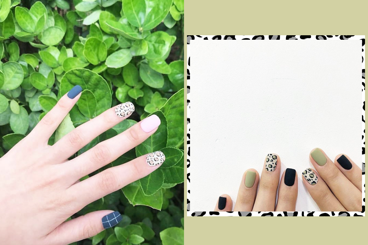 Leopard Print styling Korean girls manicure style nail arts trend fall winter 2018