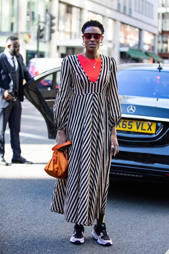 LFW maxi dress streetsnaps