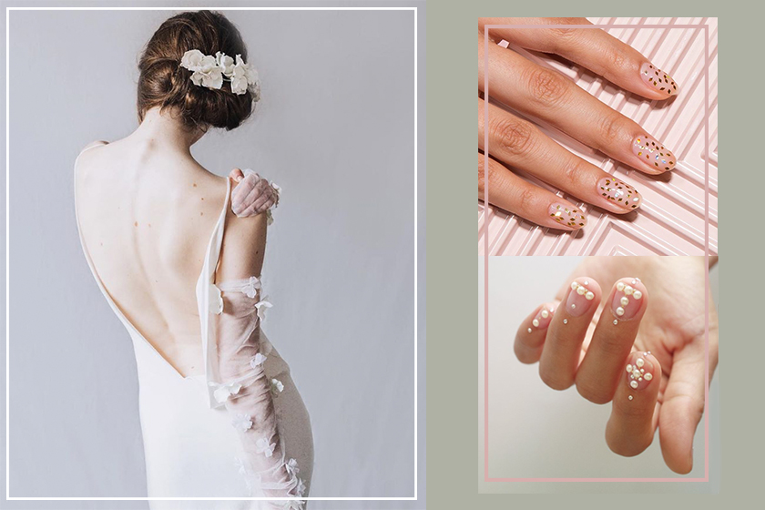 transparent nail art style for wedding