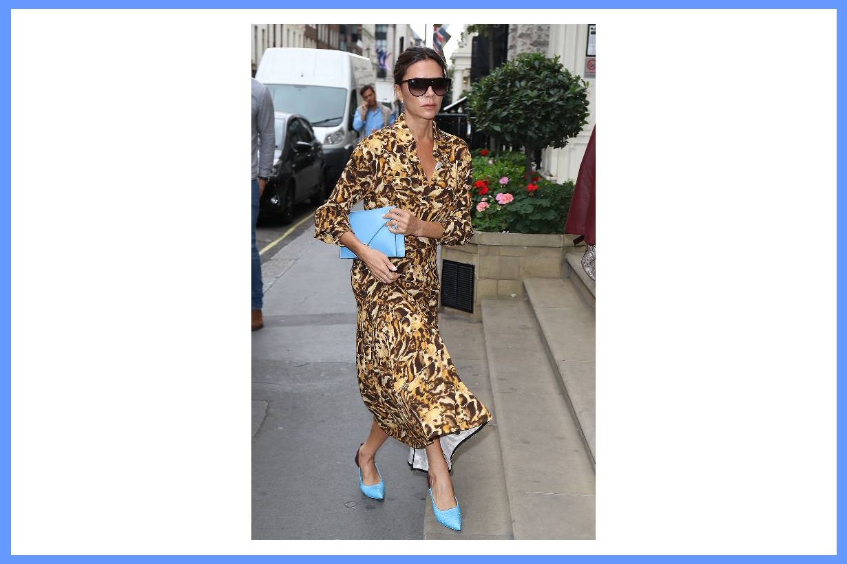 Victoria Beckham leopard print 2018 fall winter must have trend dress blue high heels street style celebrities styles