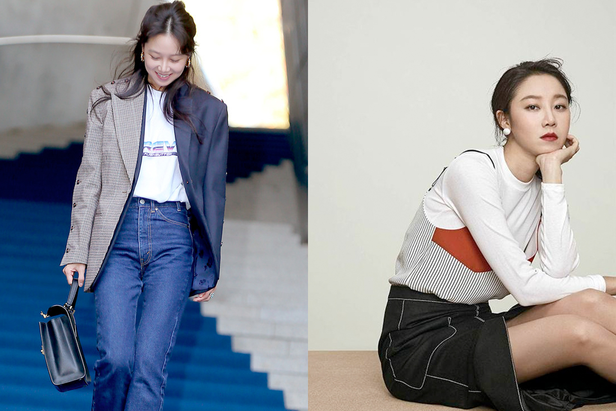 gong hyo jin seoul fashion week 2018 pushbuttom blazer tee jeans