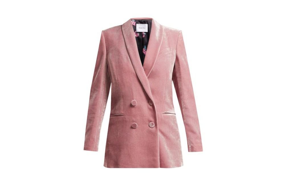 Racil Gloria double-breasted velvet blazer