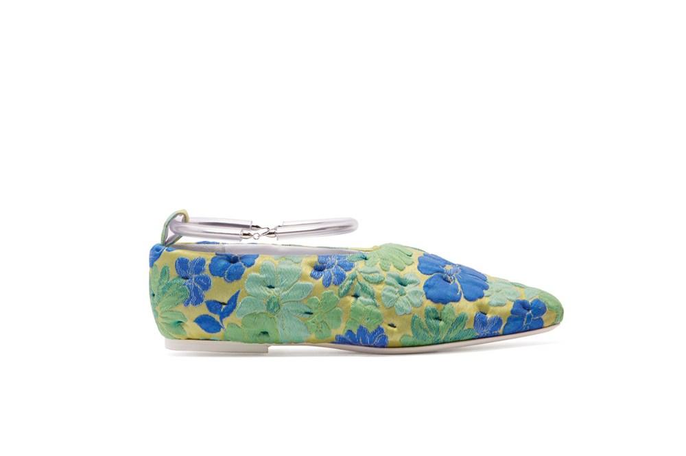 Jil Sander Floral Ankle Strap Ballet Flats