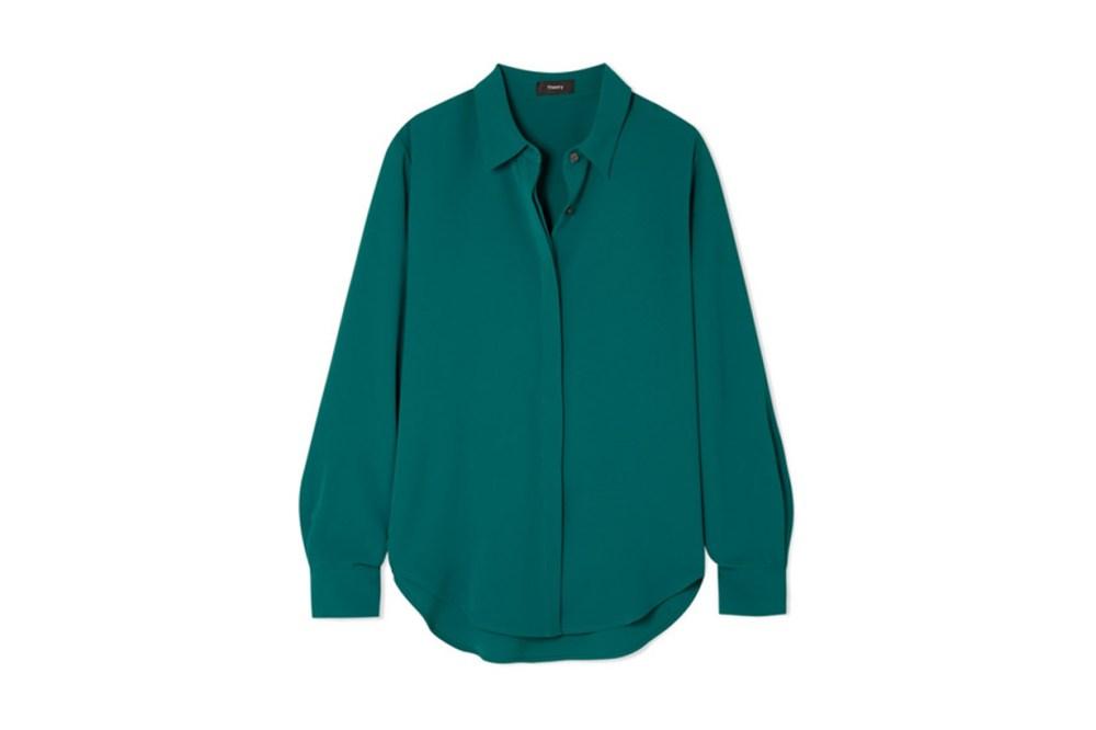 Theory Sunaya crepe de chine shirt