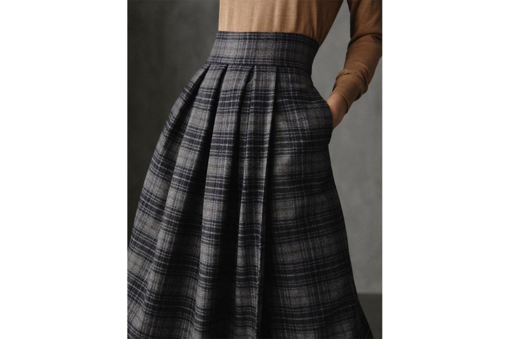 Winter Capsule Pleated Check Wool Skirt
