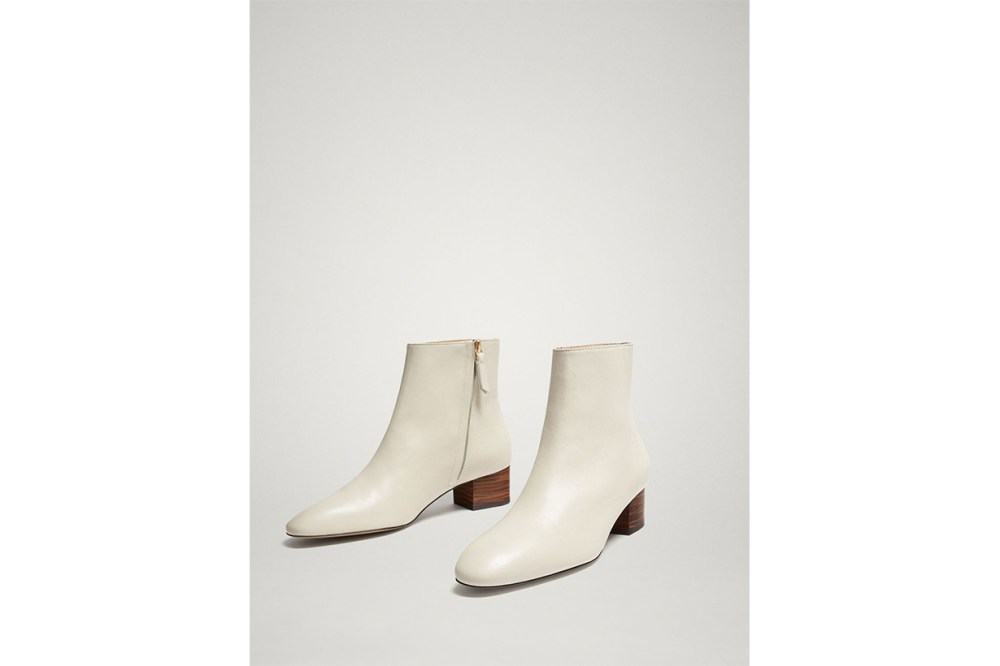 White nappa leather ankle boots