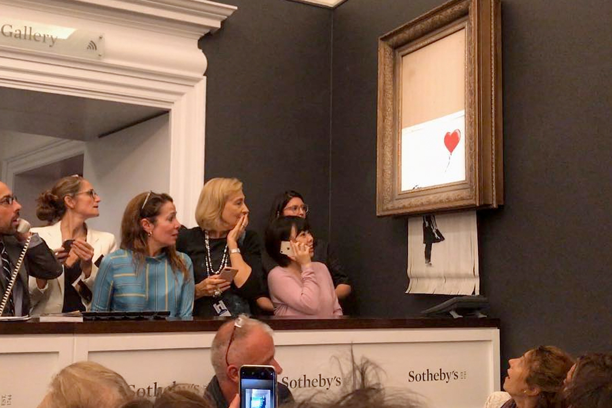 Banksy girl with balloon auction shadder serect sothebys