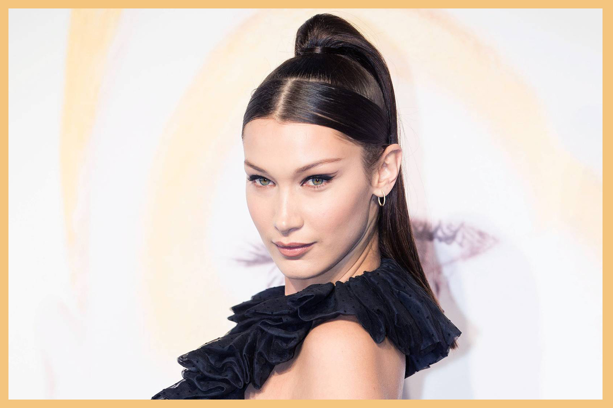 Bella Hadid drugstore skincare hair product  OUAI's Rose Hair & Body Oil Pantene Pro-V Smoothing Leave-in Combing Cream smooth frizzy free hairstyles