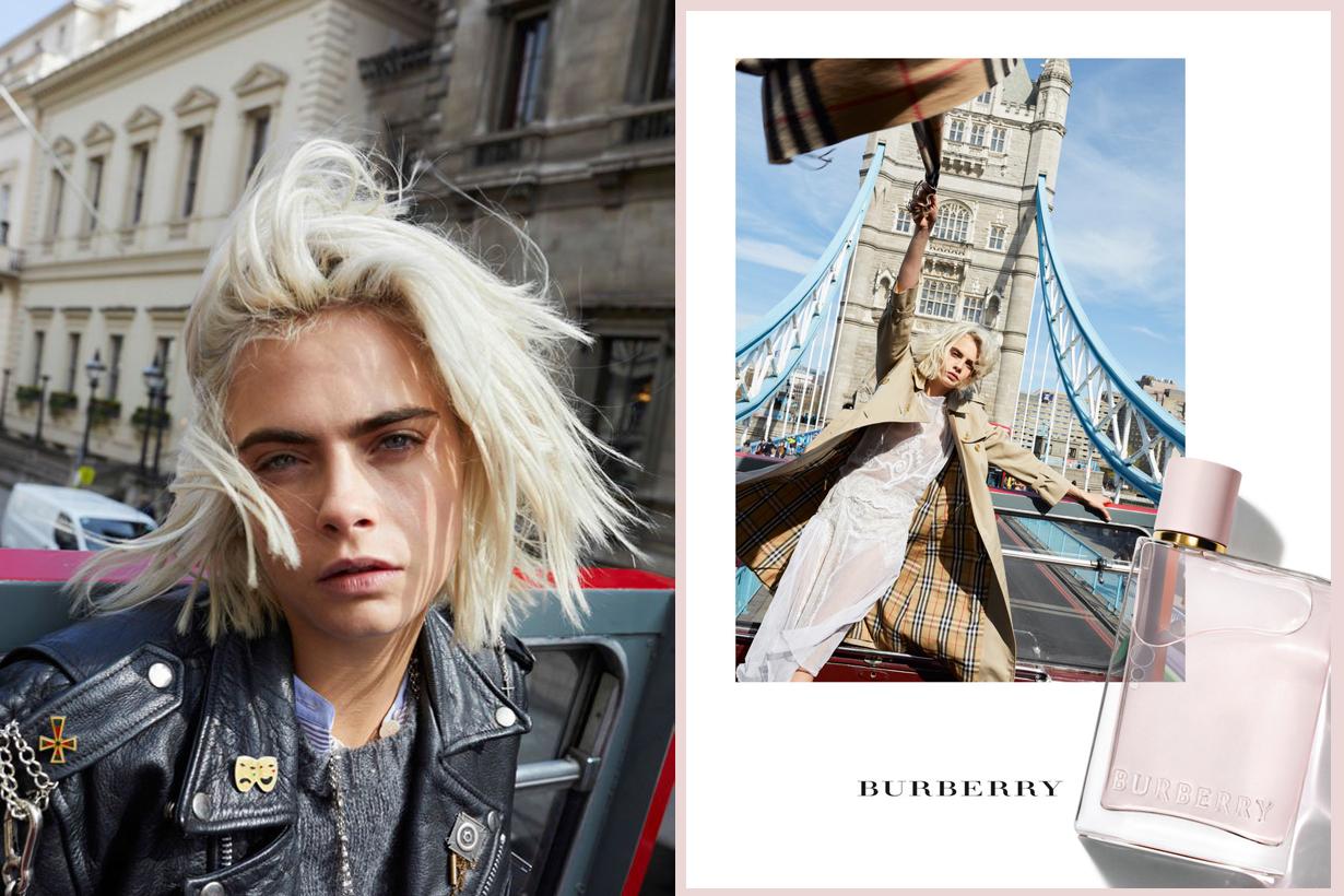 Burberry HER perfume fragrance adventurours ladies in London Cara Delevingne