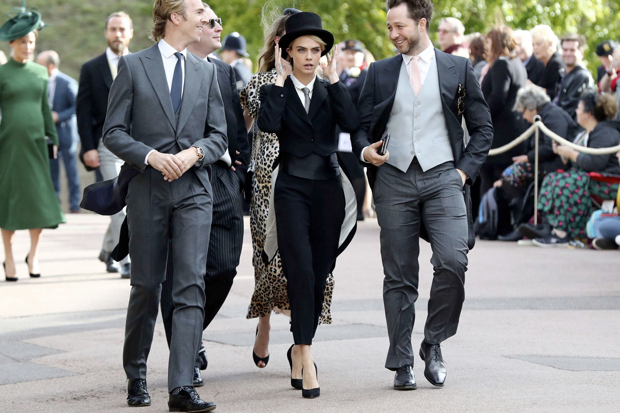 cara delevingne princess eugenie royal wedding guest style