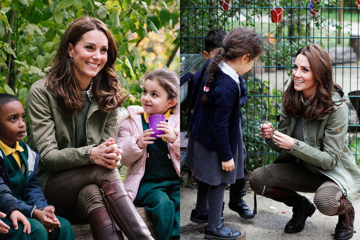Kate Middleton Duchess of Cambridge end of maternity leave  Sayers Croft Trust Forest School and Wildlife Garden Royal Visit Children Love and hugs
