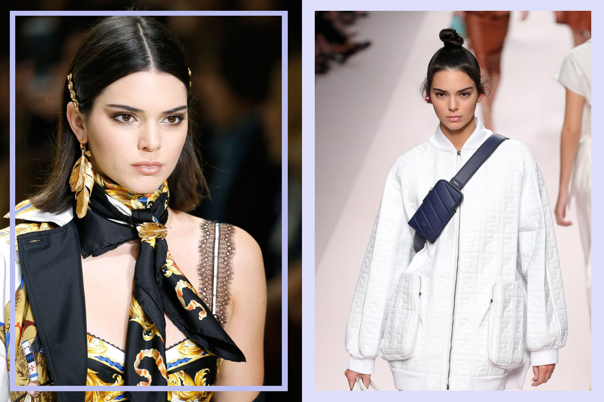 Kendall Jenner  stretchy black headband  hair accessories 90s supermodel celebrities hairstyles 90s hairstyles trend