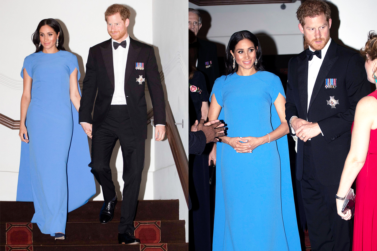 Prince Harry Meghan Markle Fiji state dinner Toasting with water pregnant sweet husband british royal family