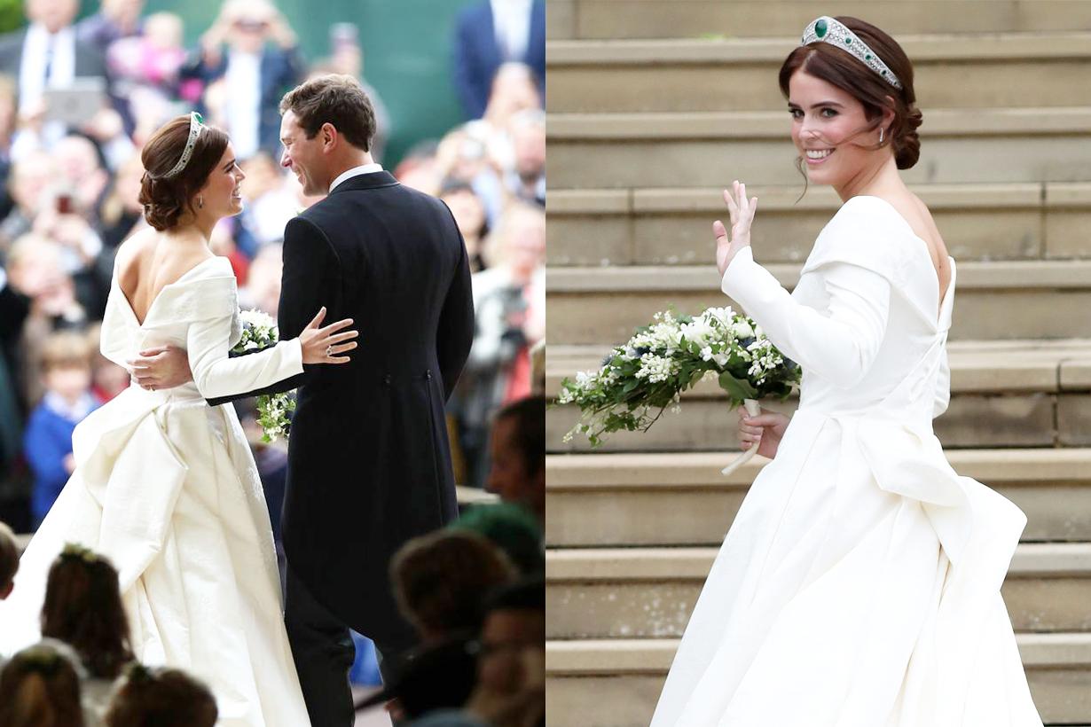 Princess Eugenie British Royal family Wedding Jack Brooksbank Showing scar surgery scoliosis peter pilotto christopher de vos