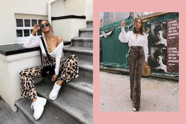 Leopard Print Outfit Ideas Street Snap White Tee