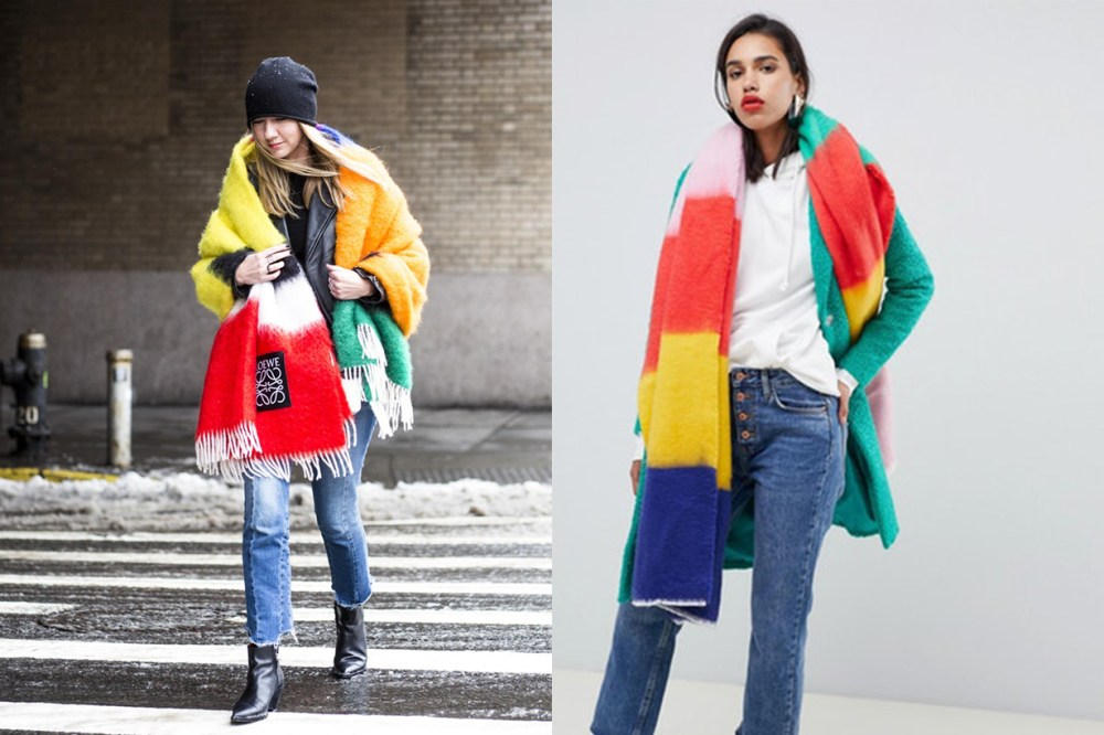 ASOS DESIGN Oversized Long Rainbow Block Stripe