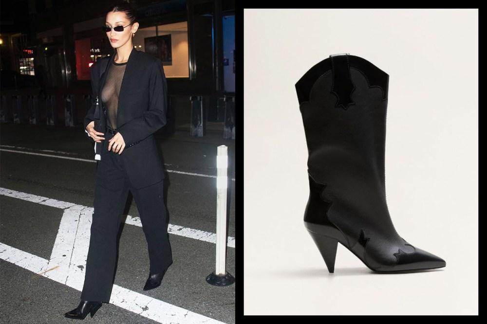 Bella Hadid's Mango Boots Black Suit Style