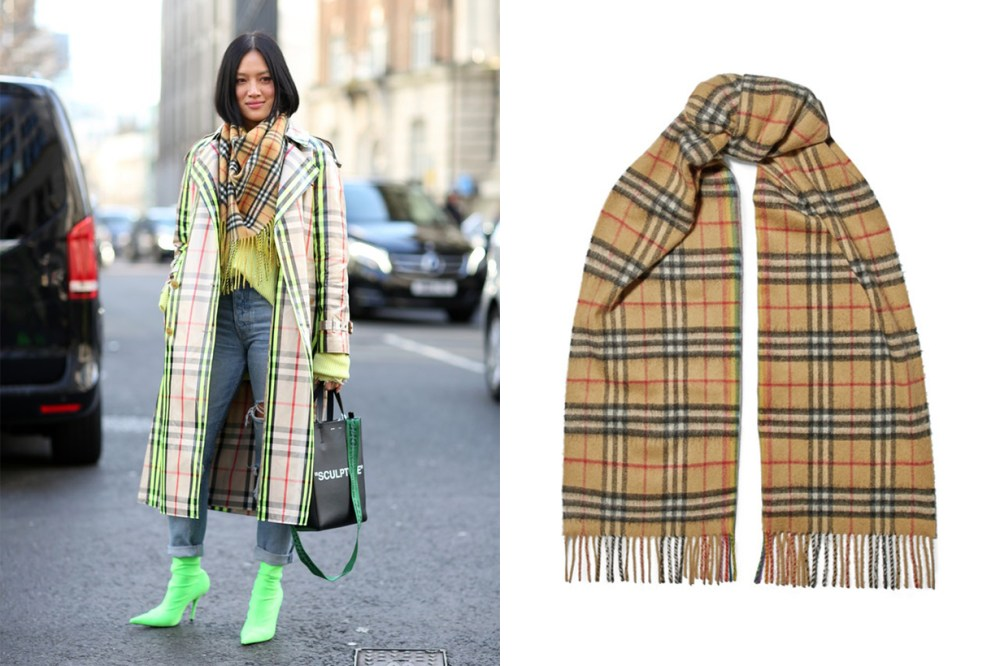 Burberry Checked Cashmere Scarf Winter Street Style