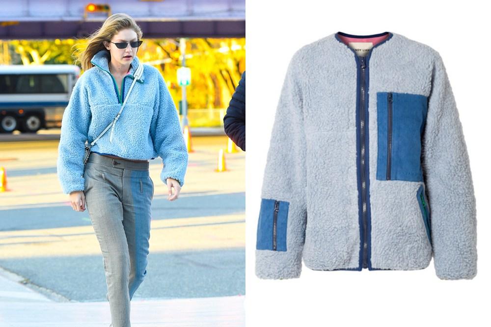 Sandy Liang Corduroy-paneled Fleece Jacket Gigi Hadid Street Style